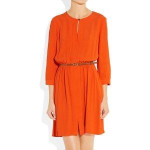 Juicy Couture Red Orange Belted Crepe 3/4 Sleeve
